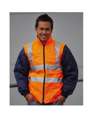 "Unisex ohutusjope-vest ""Hi-Vis Quited Jacket with Zip-Off Sleeves"", polüester"
