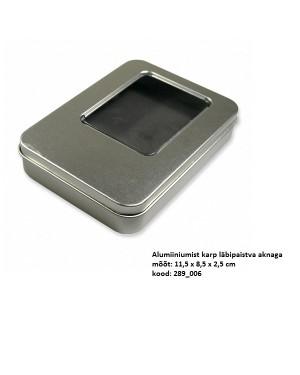 """Alumiiniumist kinkekarp läbipaistva aknaga """"Hõbe"""" 11,5 x 8,5 x 2,5 cm"""