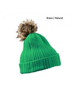 """Kootud müts """"Beanie with fake-fur Pompon """" 120 g/m2, polüakrüül"""