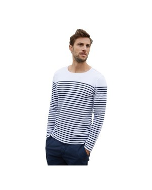 "Meeste T-särk ""Men's striped long sleeve mariniere "", 220 g/m2, puuvill"