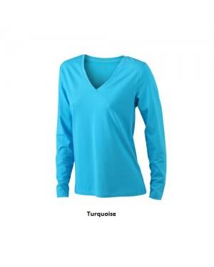 "Naiste T-särk V-kaelusega ""Ladies Stretch Shirt Long-Sleeved"" 170 g/m2, puuvill-elastaan"